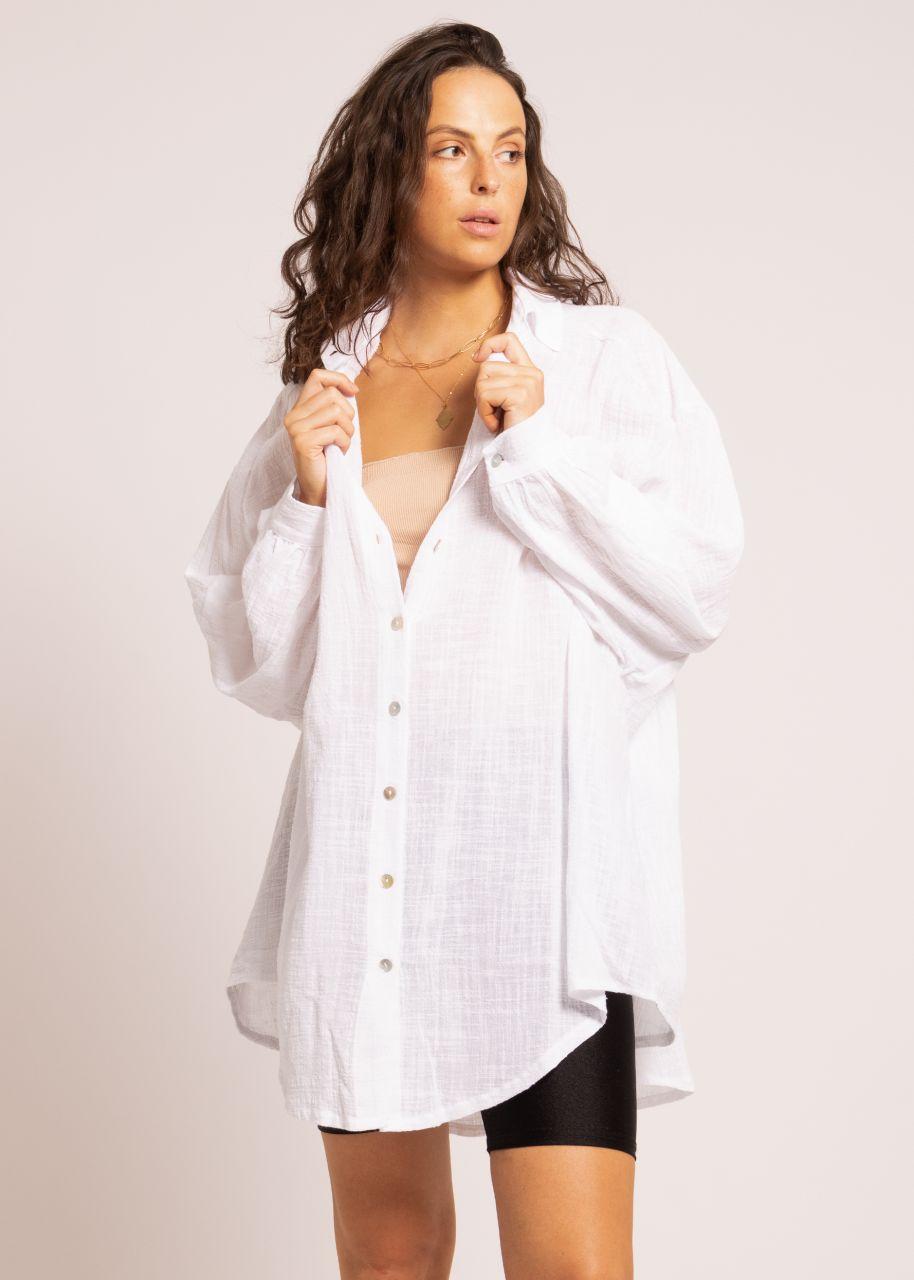 Ultra oversize transparentes Blusenhemd in Leinen-Optik, weiß