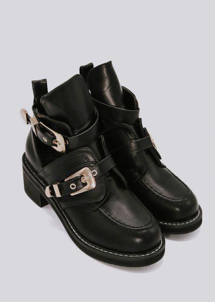 Cut-Out Boots mit 2 goldenen Schnallen, schwarz