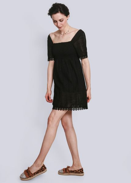 Kleid mit gesmoktem Oberteil, schwarz