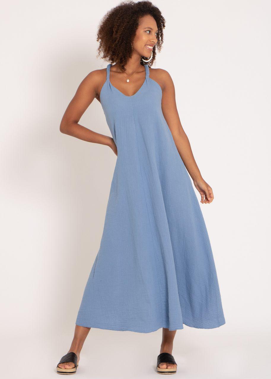 Musselin Maxi Kleid mit Trägern, blau