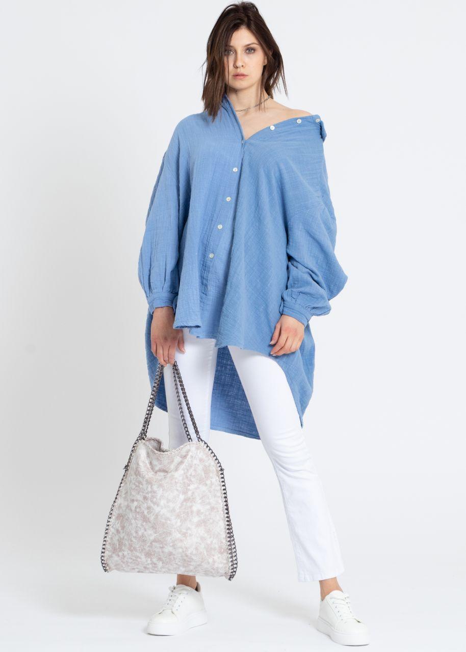Ultra oversize Blusenhemd in Leinen-Optik, blau