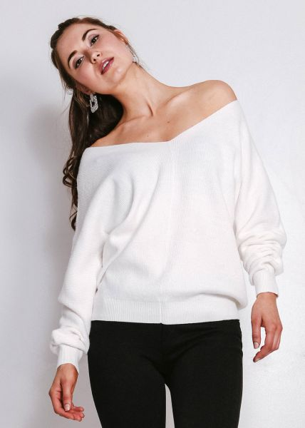 Lässiger Pullover mit V-Ausschnitt, offwhite