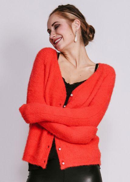 Flausch-Strickjacke mit Perlenknöpfen, orange/rot