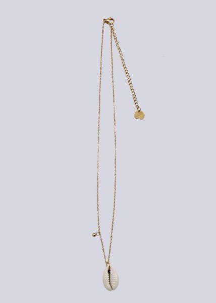 Halskette mit beigefarbener Muschel, gold