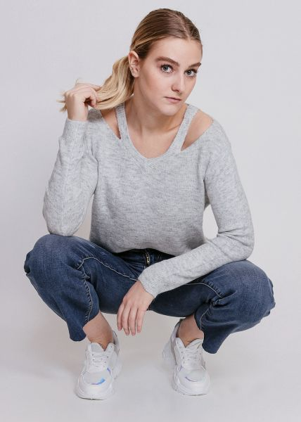 V-Pullover mit Cut-Outs, grau