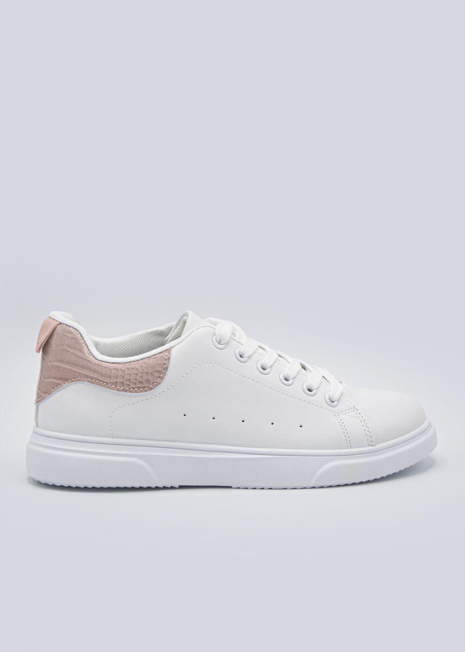 Sneaker mit rosa Kroko-Ferse, weiß