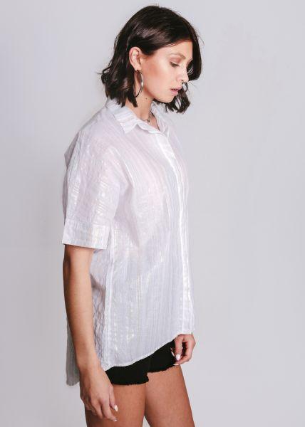 Hemdbluse mit Glitzerstreifen, weiß