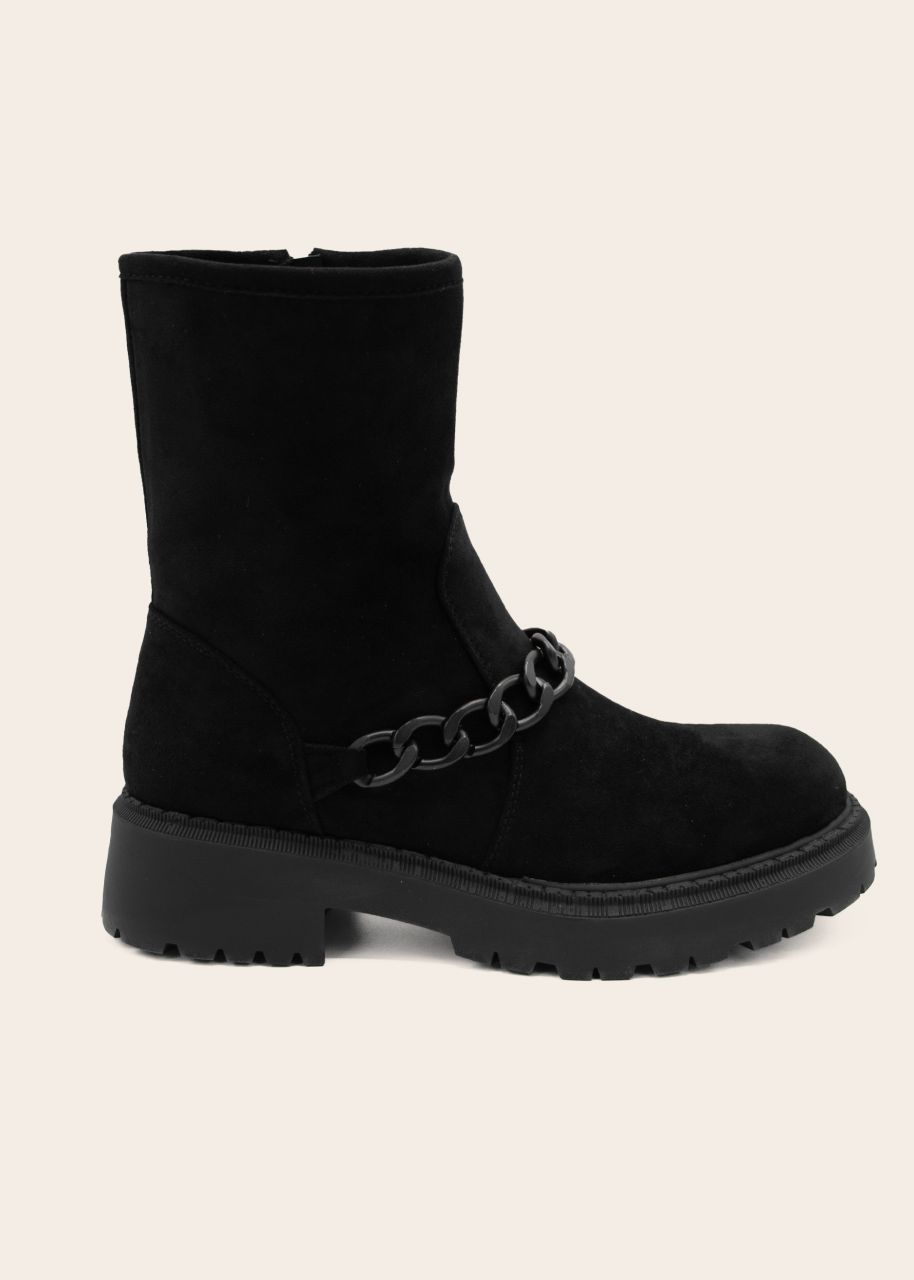 Plateau Boots mit Kette, schwarz