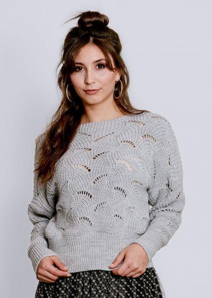Pullover mit Lochmuster, grau