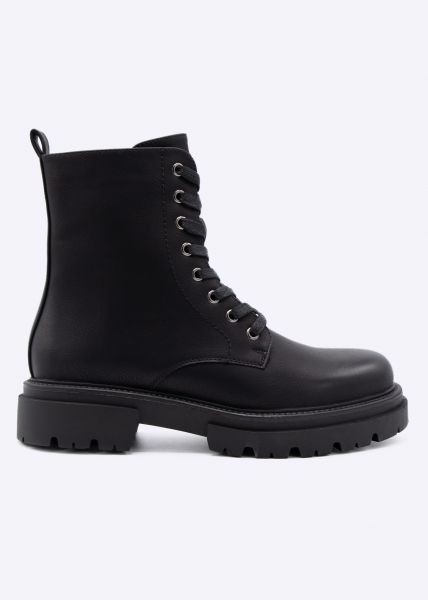 Schnür-Boots mit Plateau, schwarz