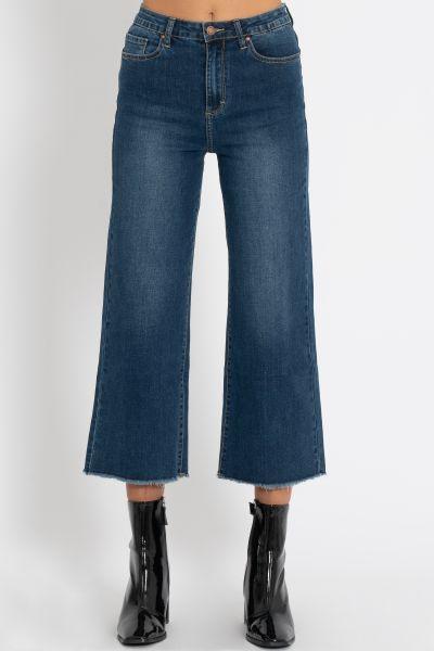 Knöchellange Jeans mit Schlag, dunkelblau