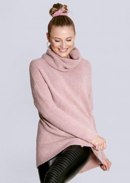 Oversize Rollkragenpullover, rosa