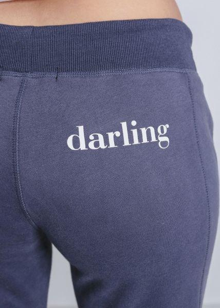 "Loungepants mit ""darling"" Print, blau"