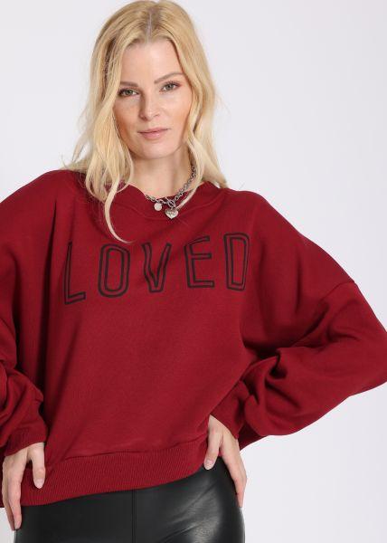 Cosy Oversize Sweatshirt LOVED, weinrot