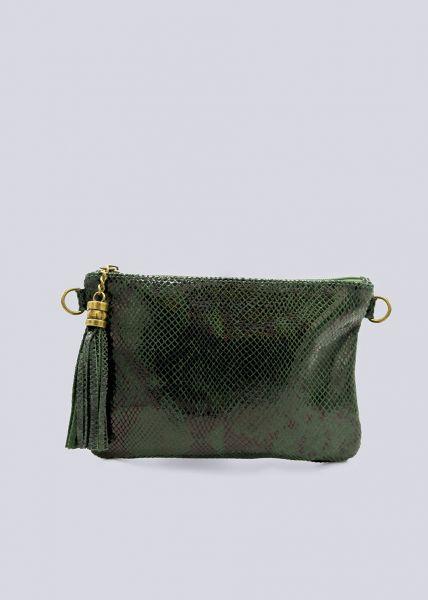 Leder-Tasche mit Snake-Prägung, grün