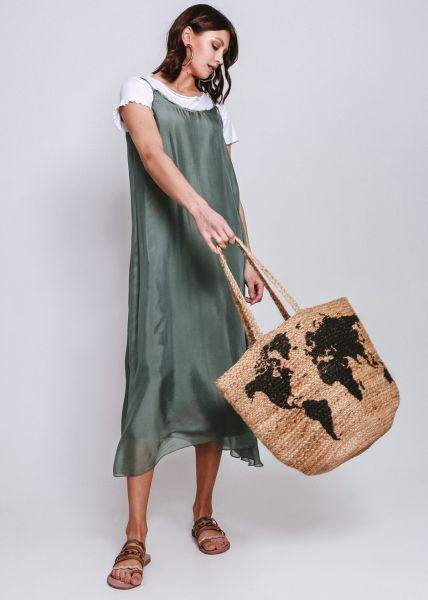 Slip-Dress aus Seide, khaki