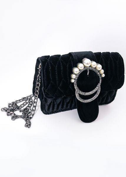 Samttasche mit Perlenverschluss, schwarz