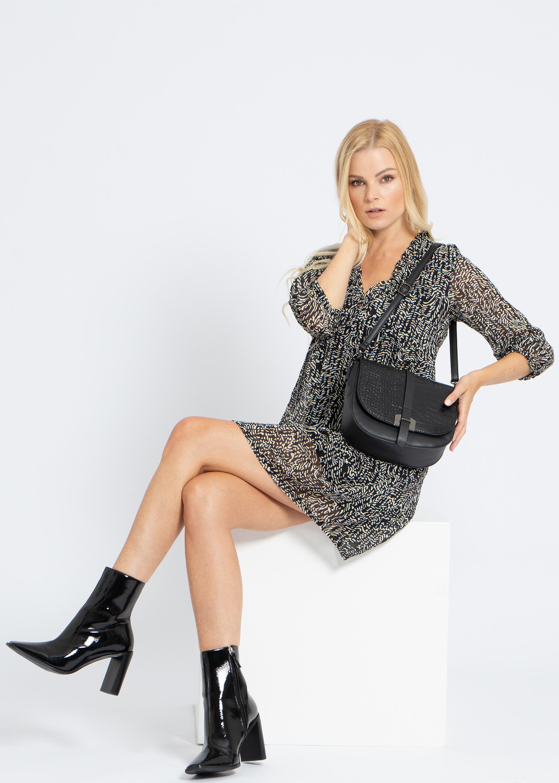 Kleid mit Animal-Print und Lurex, schwarz/weiß | SALE ...