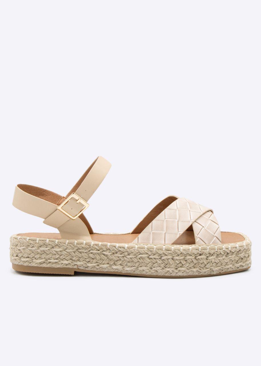Plateau-Sandalen mit geflochtenen Stegen, beige