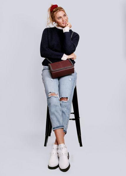 Pullover mit weißen Rüschen, dunkelblau