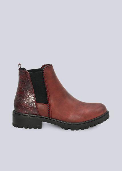 Chelsea-Boots mit Kroko-Ferse, weinrot