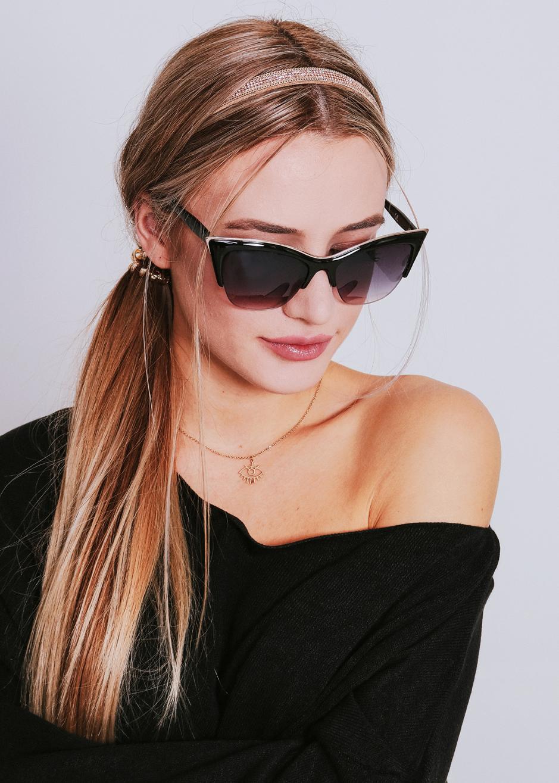 6e668843e8900e ... schwarz · Vorschau: Cat-Eye Sonnenbrille mit gold Akzent, schwarz