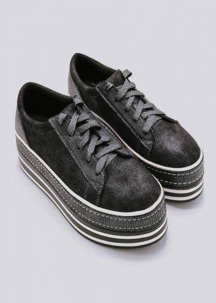 Plateau-Sneaker, schwarz