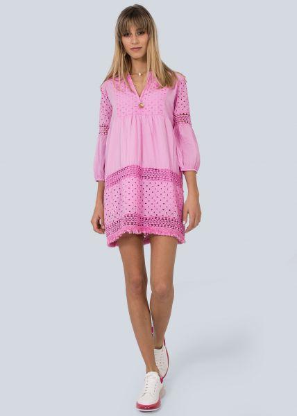 Baumwollkleid mit Spitze, pink