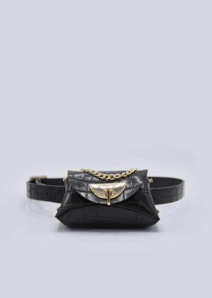 Gürteltasche/Minitasche in Snake-Optik, schwarz