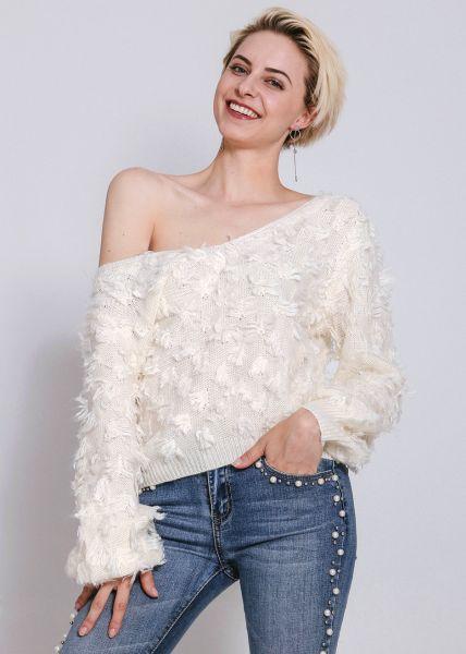 Pullover mit Zotteln, offwhite