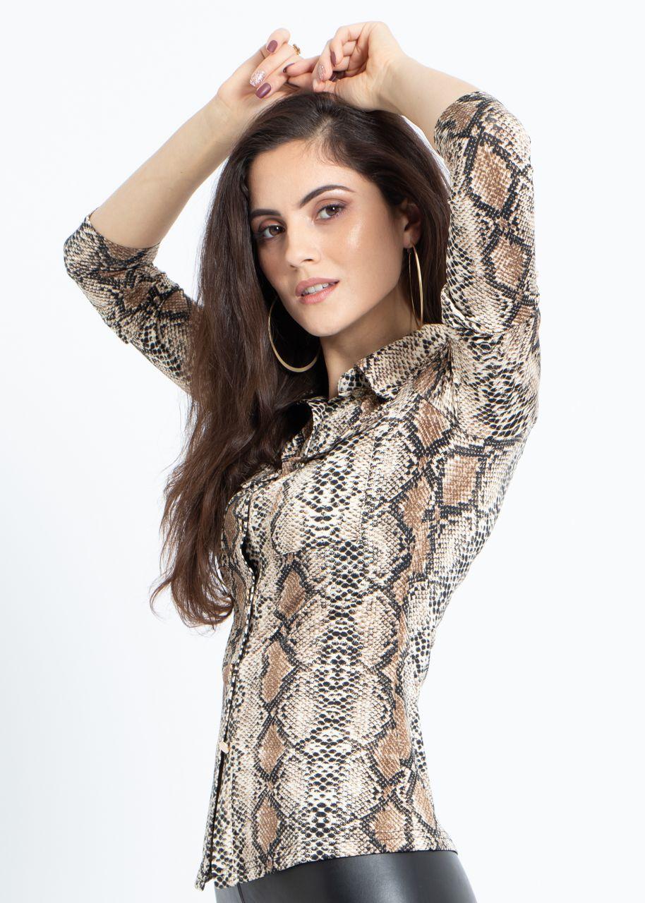 Jersey-Bluse in Snake-Print, braun