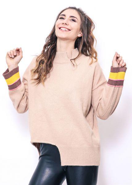 Oversize Pullover mit Streifen, beige