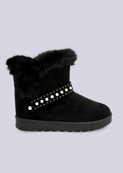 Fell-Boots mit Perlen, schwarz