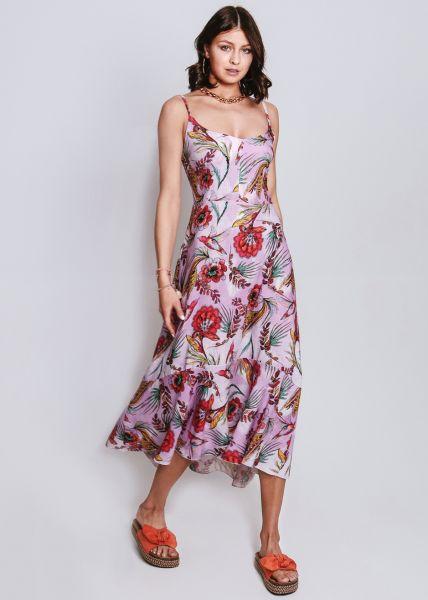 Volant-Kleid in Blumenmuster, pink