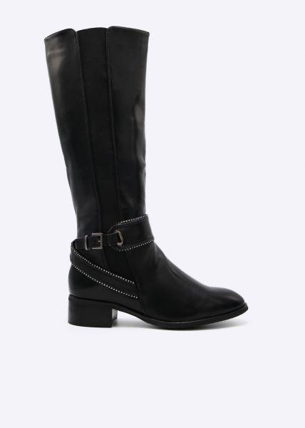 Kniehoher Stiefel mit Schmucksteinchen, schwarz