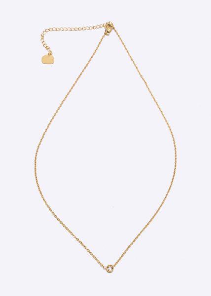 Halskette mit Glitzerstein, gold