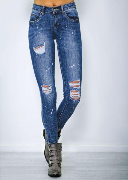 Knöchellange Skinny Jeans mit Farbspritzern