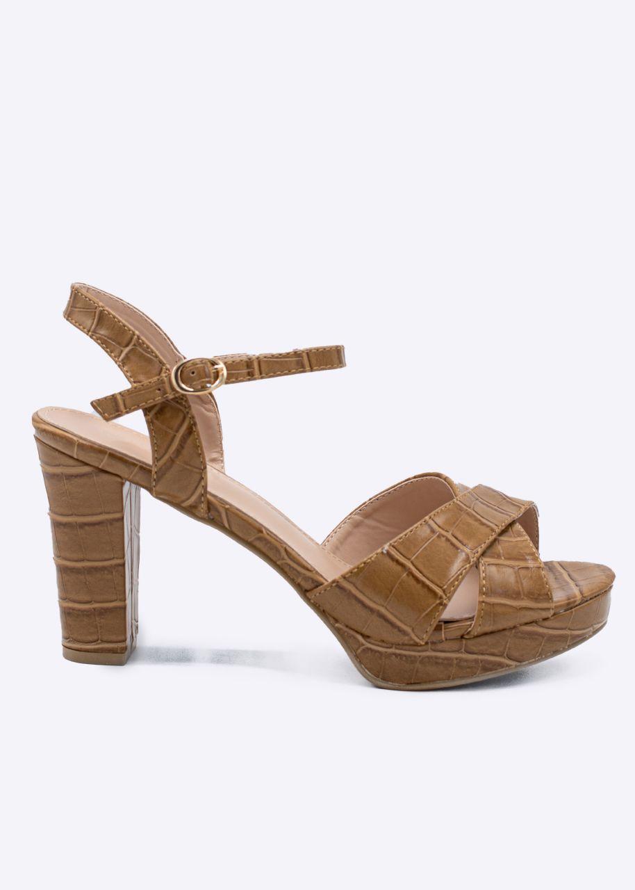 Sandaletten in Kroko-Optik, camel