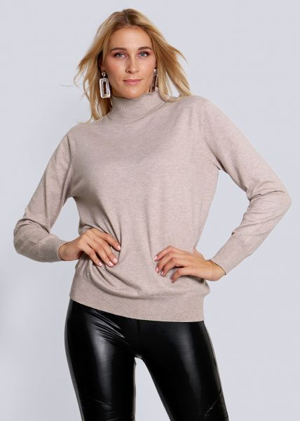 Turtleneck-Pullover, stein