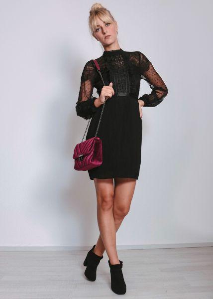 Cocktailkleid mit Spitze, schwarz