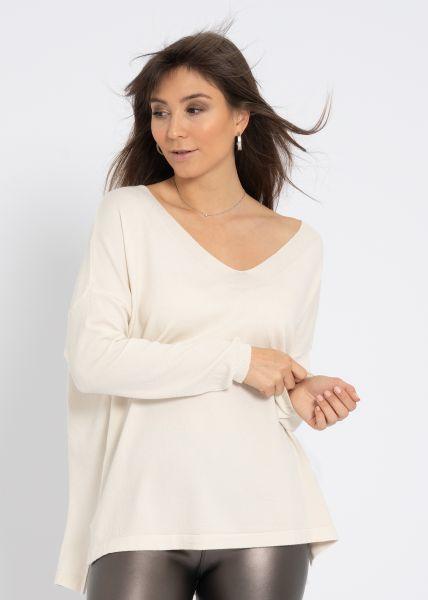 Oversize Pullover mit V-Ausschnitt, beige