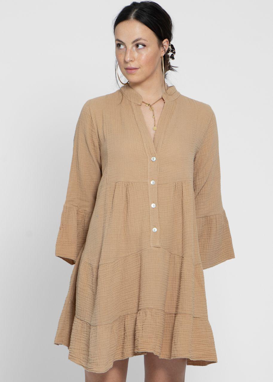Musselin-Kleid, camel
