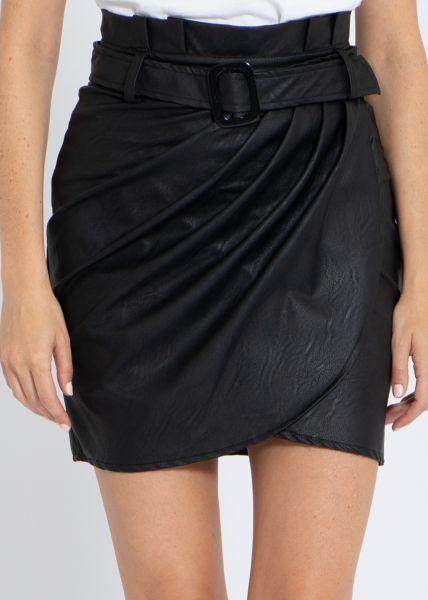 Lederrock mit Raffung, schwarz