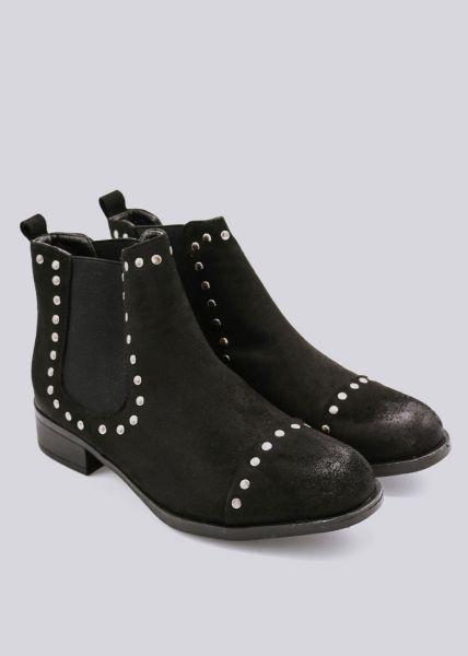 Chelsea- Boots in Velours, schwarz