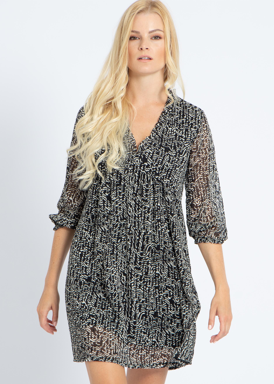 Kleid mit Animal-Print und Lurex, schwarz/weiß | Kleider ...