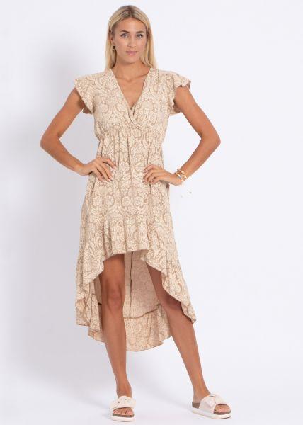 Vokuhila-Kleid mit Print, beige