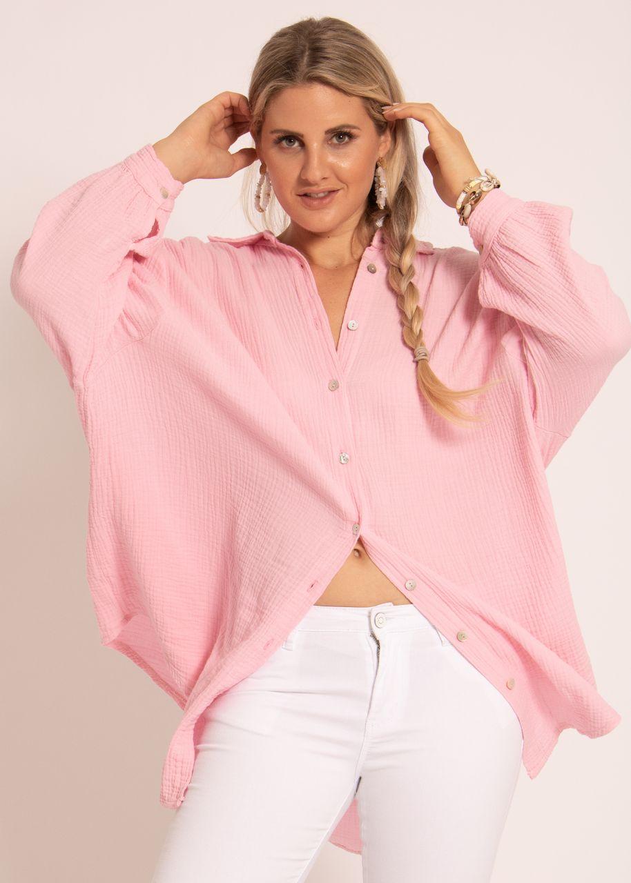 Ultra oversize Blusenhemd, rosa