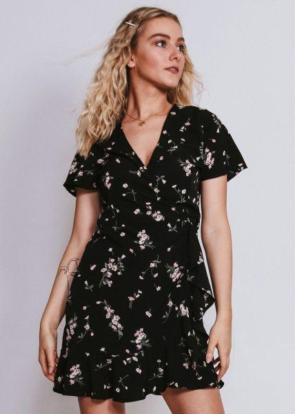 Wickelkleid mit Blumenprint, schwarz