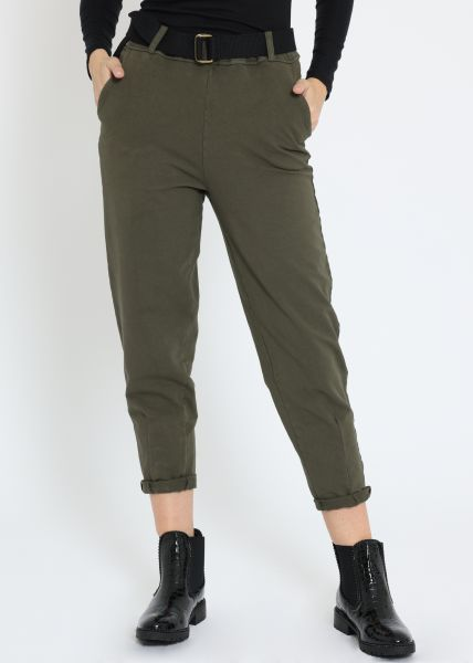 Knöchellange Jersey-Hose, khaki