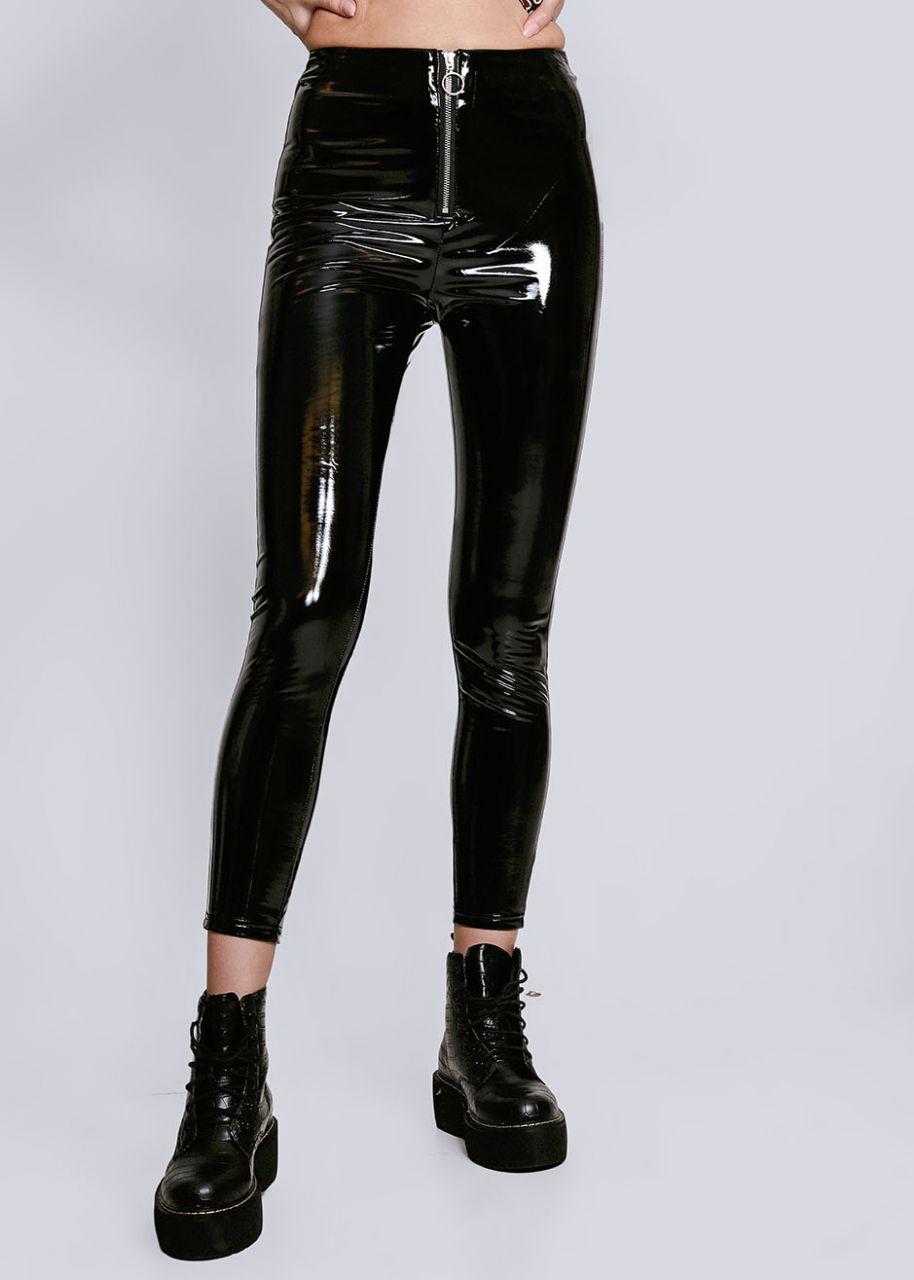 Vinyl-Leggings mit Reißverschluss, schwarz